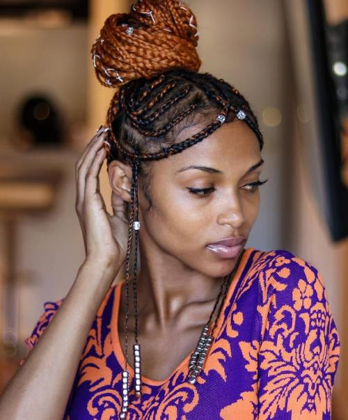 Criss-Crossed Black and Caramel Fulani Braids