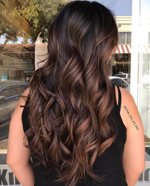 Long Black Hair with Caramel Highlights