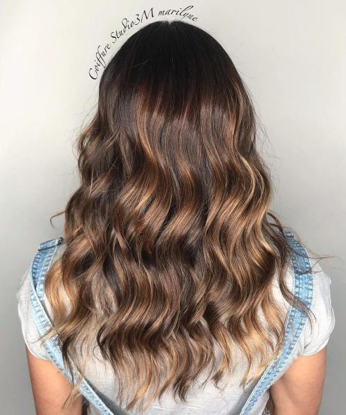 Long Chocolate Hair With Caramel Highlights
