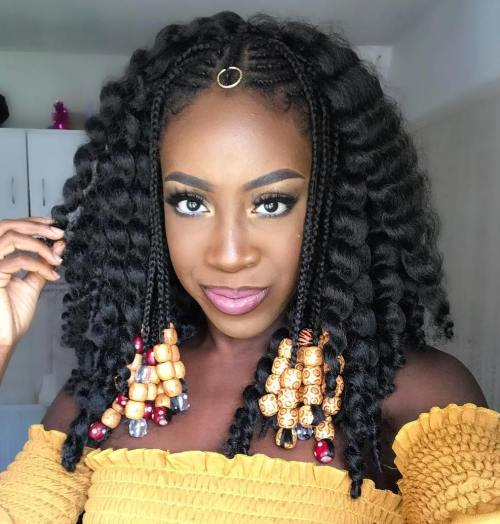 Curly Lob with Face-Framing Fulani Braids