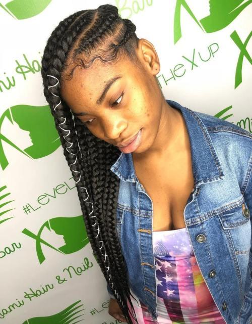 Forward Braids with Hair Wrap