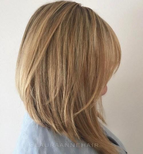 Angled Caramel Blonde Lob