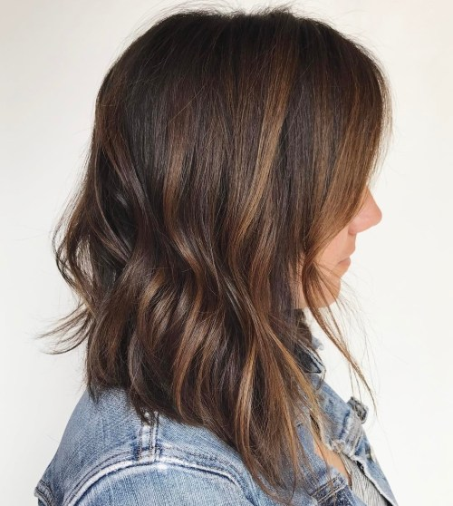 Dark Brown Long Bob with Copper Highlights