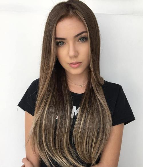 Long Sleek Brown Hairstyle with Thin Subtle Highlights