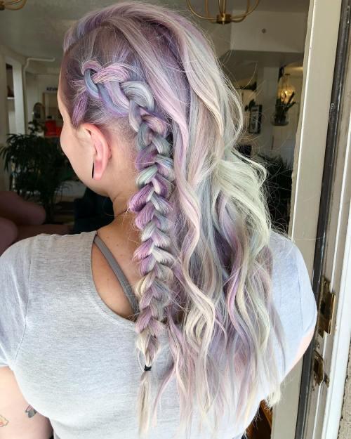 Purple Hair with Side Dutch Braid