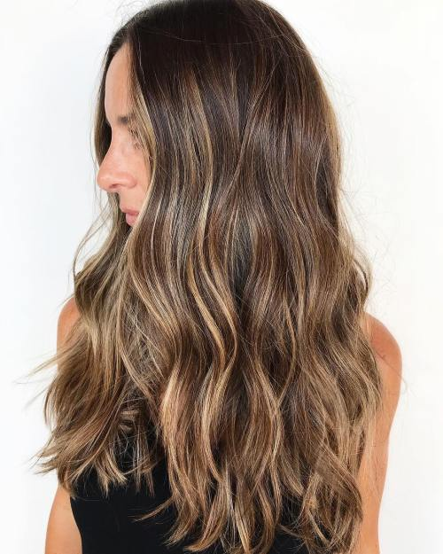 Long Brown Hair with Caramel Blonde Highlights