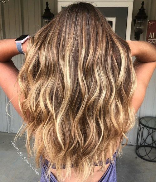 Light Brown Hair with Golden Blonde Balayage