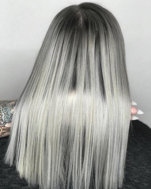 Straight Silver Lob Haircut