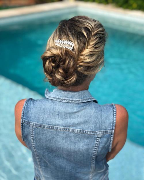 Fishtail Updo with a Hair Clip