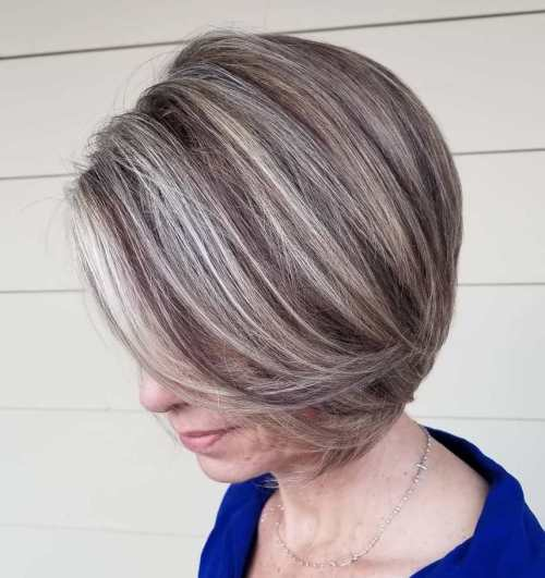 Jaw-Length Ash Blonde Bob with Swoopy Bangs