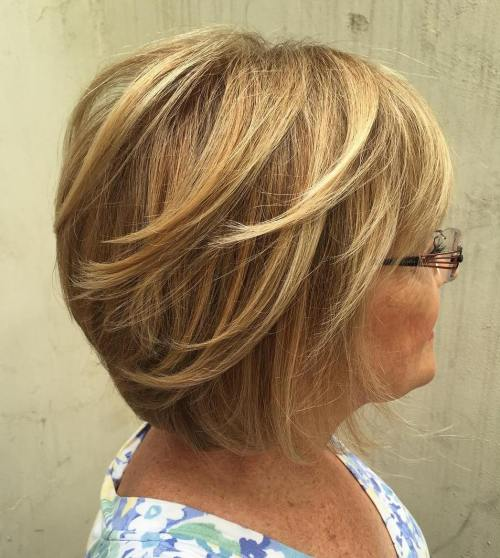 Layered Bob With Glasses For Over 60