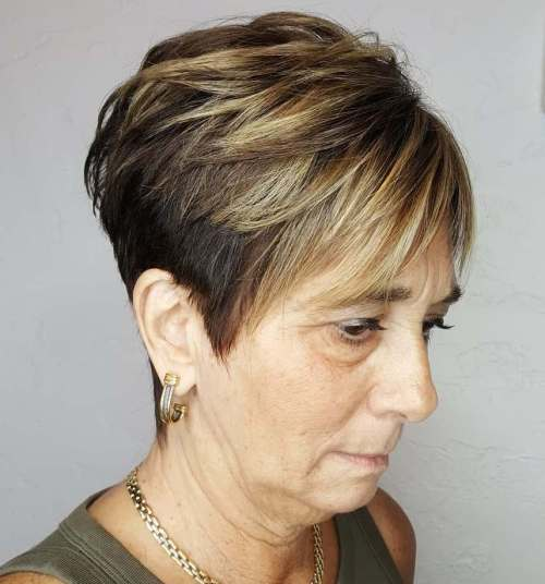 Older Women's Two-Tone Tapered Pixie