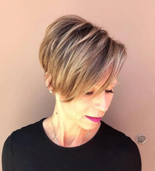 Brown Blonde Undercut Pixie