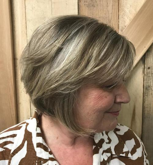 Chin-Length Gray Brown Bob with Bangs