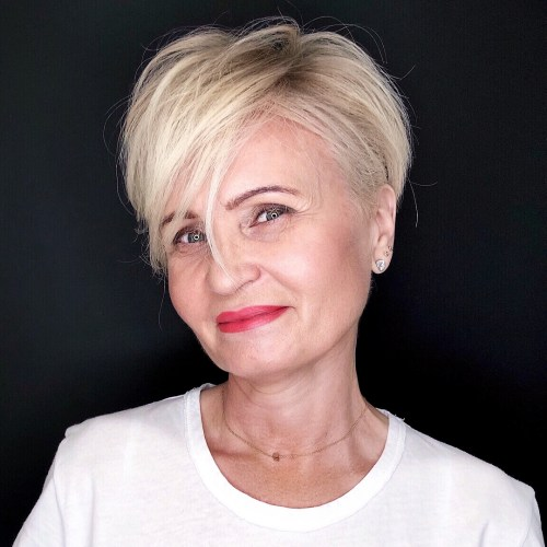Blonde Undercut Pixie over 50