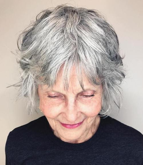 Short Salt-And-Pepper Hairstyle For Women Over 60