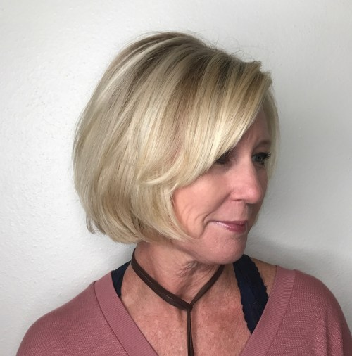 Chin-Length Blonde Bob for Older Women