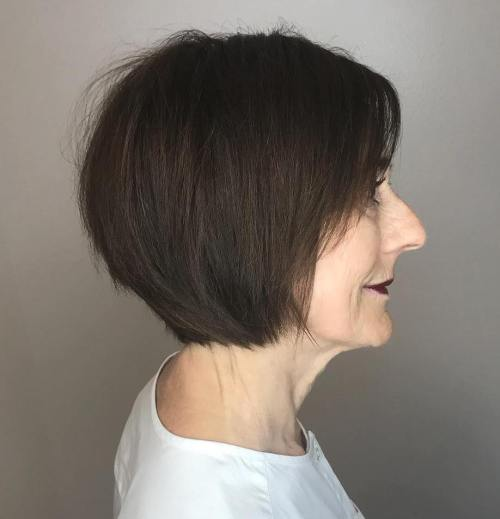 Dark Brown Bob With Razored Layers