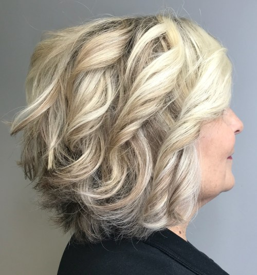 Over 60 Blonde Layered Curled Bob