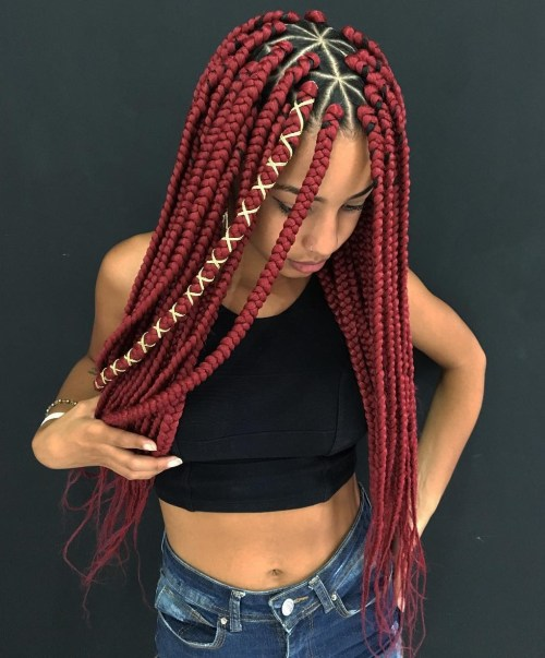 Centre-Parted Red Triangle Box Braids