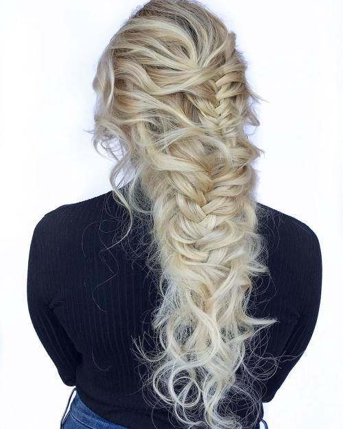 Messy Braided Downdo for Long Wavy Hair