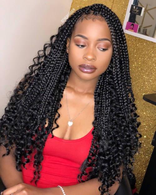Black Braids and Curls Downdo