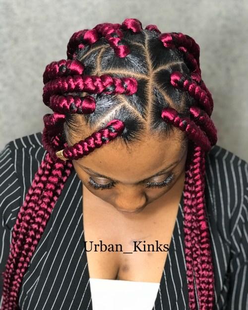 Bright Pink Triangle Braids