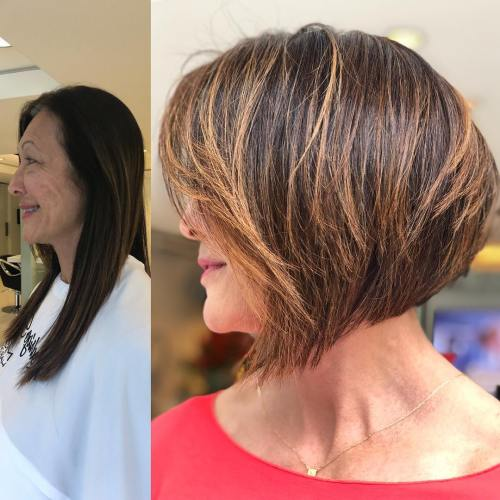 Graded Balayage Bob For Older Women