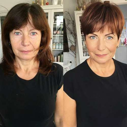 Brown Pixie With Bangs For Older Ladies