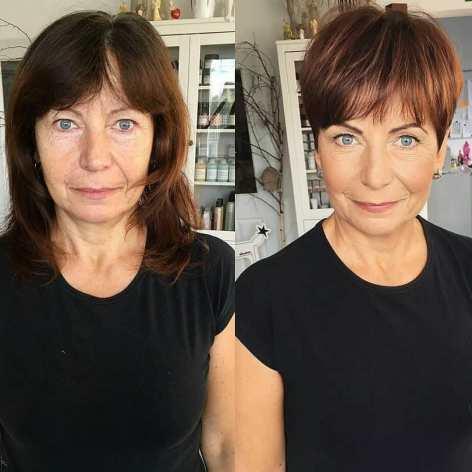 Brown Pixie With Bangs For Older Ladies
