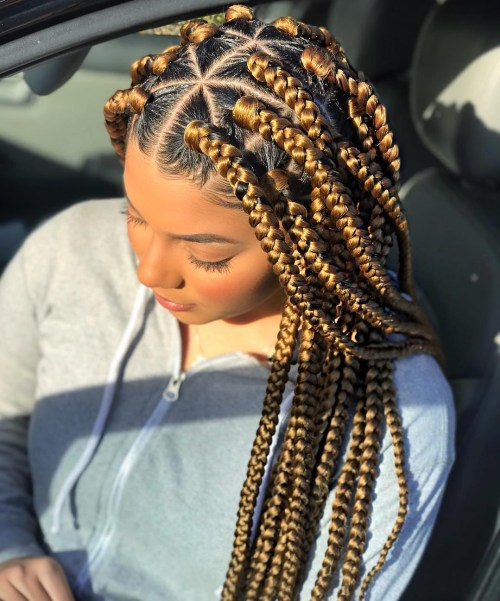 Golden Blonde Box Braids With Rubber Bands