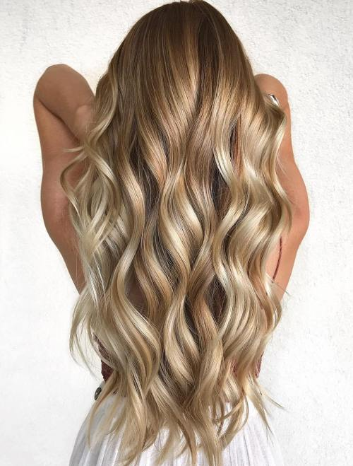 Extra Long Honey Blonde Balayage Hair