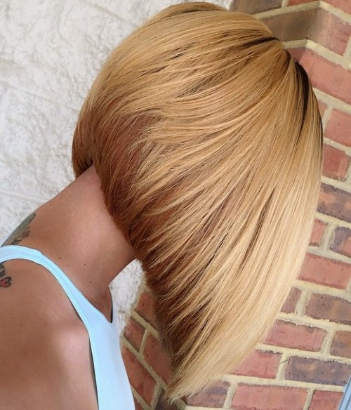 Inverted Strawberry Blonde Bob for Thick Hair
