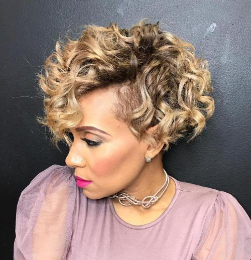 Side-Parted Curly Inverted Bob