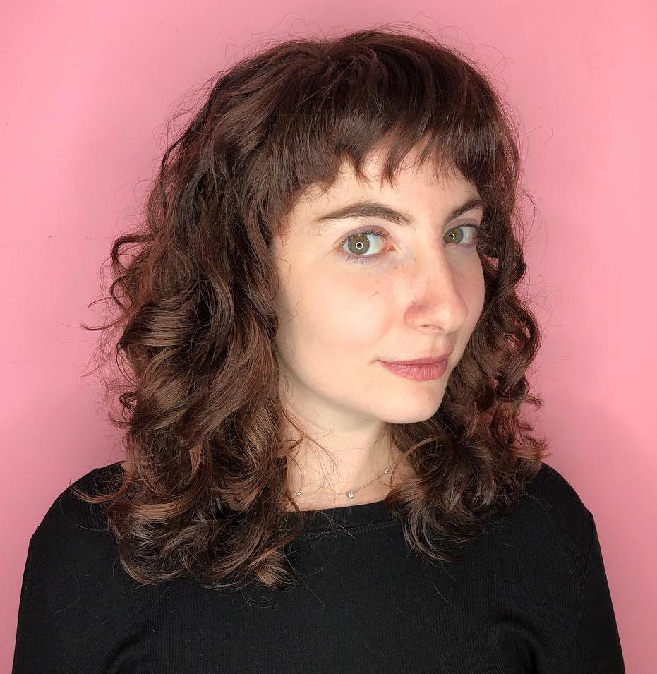 Medium Curly Hairstyle With Cropped Bangs