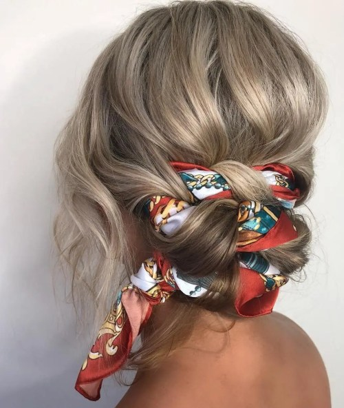 Low Updo With Head Scarf