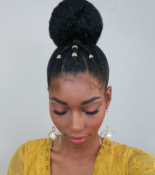 High Natural Bun And Braids With Beads