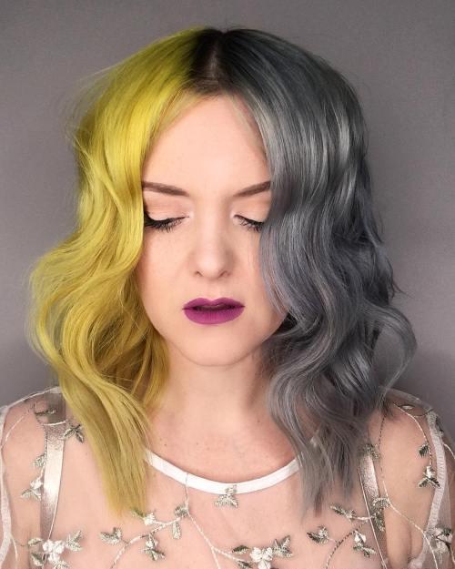 Yellow And Gray Split Hair