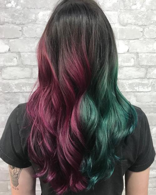 Brunette Hair With Emerald And Plum Pieces