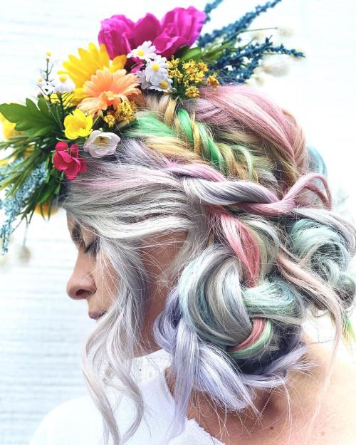 Unicorn Hairstyle with Floral Wreath