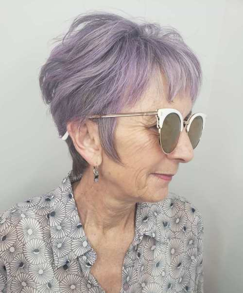 Thick Lavender Pixie For Older Lady