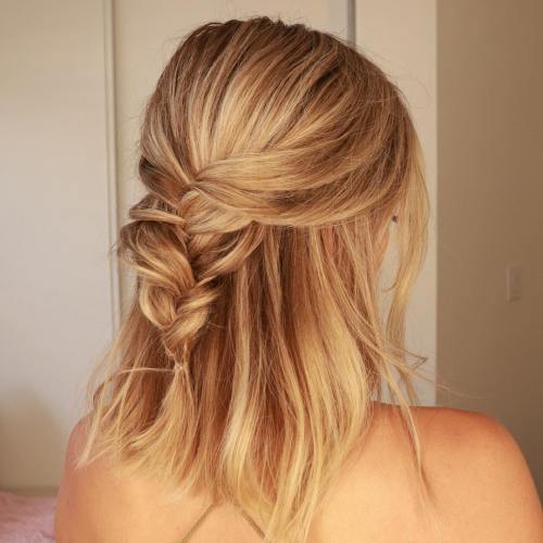 Long Bob With Messy French Braid