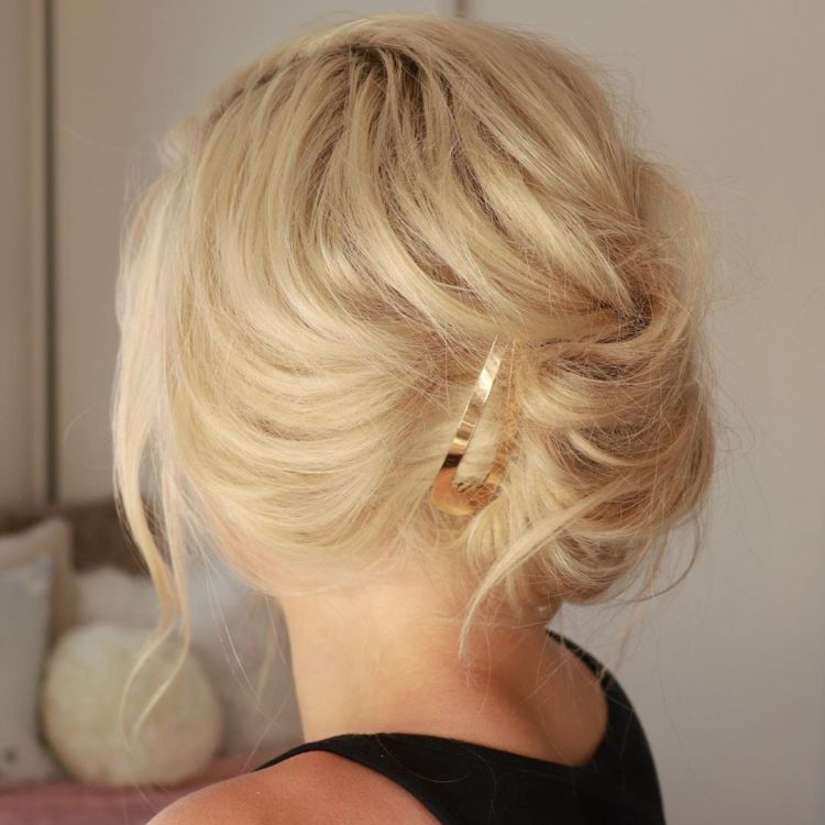 French Twist With Golden Clip