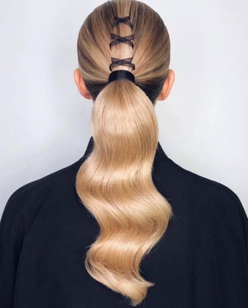 Ribbon Banded Ponytail