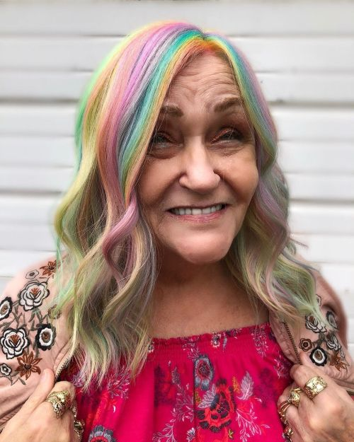Medium Rainbow Hair For Mature Women