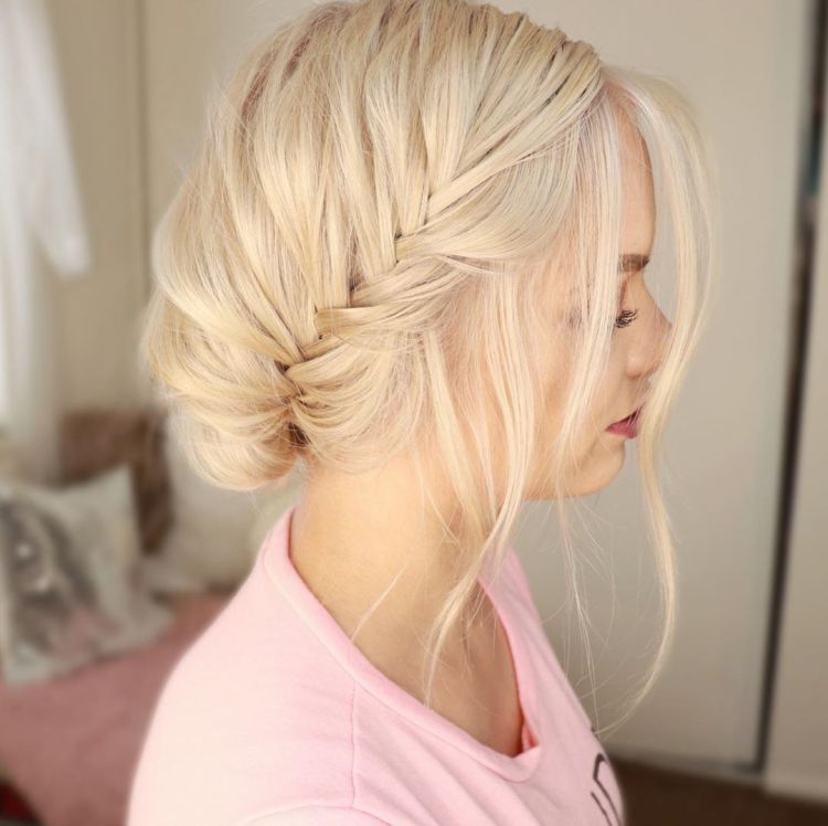 Loose Braid Updo For Shoulder Length Hair