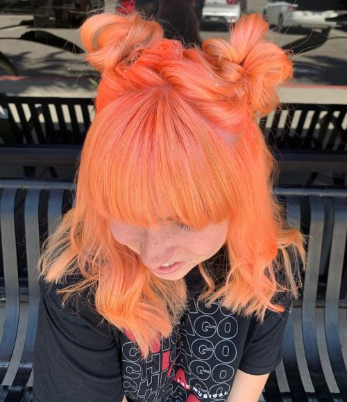 Neon Peach Space Buns