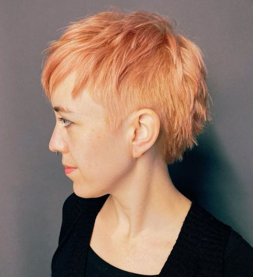 Choppy Peach Pixie Cut