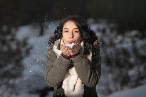 Woman with Great Hair in Cold Weather