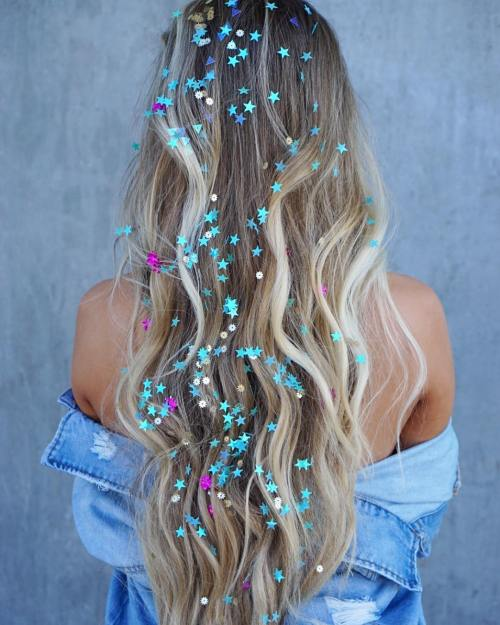 Sequins Scattered All the Way Down the Length of Hair
